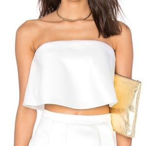 Lovers + Friends | White Ruffled Crop Top-A26